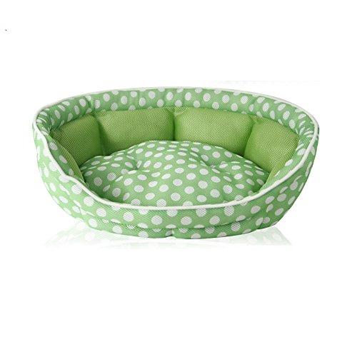 Green Liergou Pet Bolster Bed Sandwich Mesh Cushion Sofa Nest Wave Teddy Small Dog Kennel Pet Supplies. (color   Green)