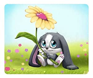 Cartoons Cute Rabbit Holding a Sunflower Rectangle mouse pad by Custom Service Your Perfect Choice