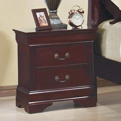 - Louis Philippe 2-drawer Nightstand Red Brown
