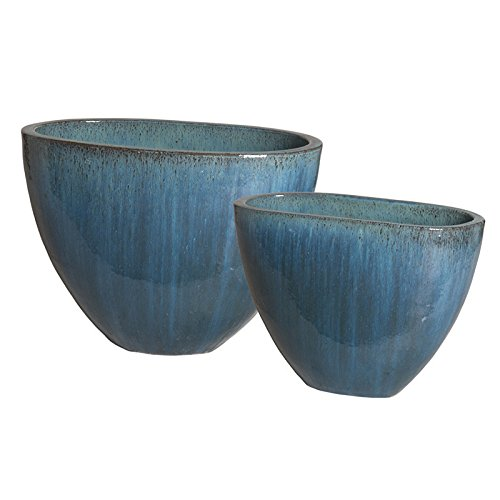 Oval Ceramic Planters - Blue (set of 2) by Emissary