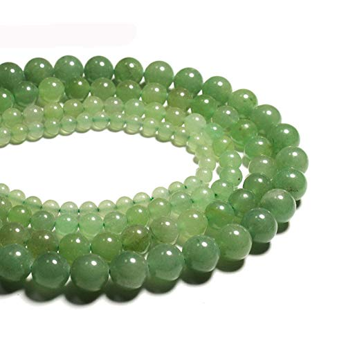 iZasky Natural Jade Stone Beads 4-12 mm - Green Aventurine Round Loose Stone Bead for Making Jewelry DIY Craft Necklace Bracelet (6mm About -