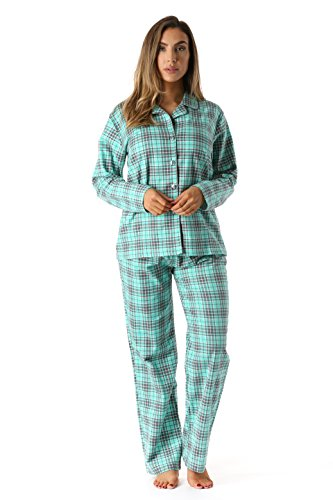 Plus Size Flannel Pajamas - #followme 6371-10230-S Printed Flannel Button Front PJ Pant Set