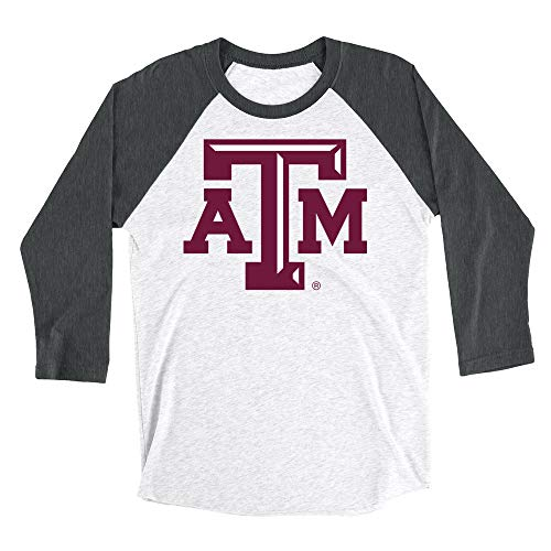 Venley NCAA Texas A&M Aggies Boyfriend Triblend Raglan, Small, Black Heather White