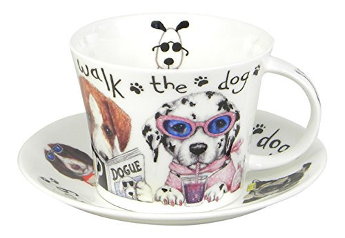 Roy Kirkham Animal Fashions Walk the Dog Large Breakfast Tea Cup and Saucer Set Fine Bone China England