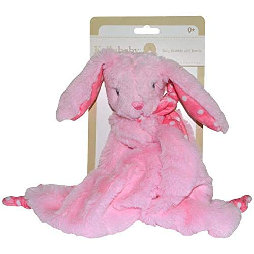 Pink Bunny Rabbit Security Blanket with Rattle Polka Dot ()