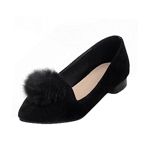 Amoonyfashion Zapatos Cerrados De Tacón Bajo Sólidos Con Tacón Alto Para Mujer De Color Negro Cerrado