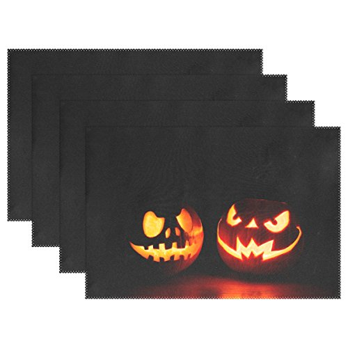 WIHVE Placemats Wipeable Dining Halloween Jack-O'-Lantern Table Mat Rectangle Polyester Washable Insulation Non-slip Kitchen Placemat Set of (Diy Halloween Placemats)