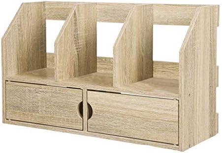 Schreibtisch Organisator 2 Layer Desktop-Bookshelves Aufsatz- Anzeige Regale 3 Compartment Klassifizierung Bücherregal Holz-Anzeigen-Regal Briefablage (Color : Natural)
