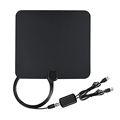 TV Antenna Indoor Amplified HDTV Antenna, Utoty TV Antenna for Digital TV Indoor 50 Mile Range with Detachable Amplifier Signal Booster, USB Power and 16Ft Coax Cable for 4K 1080P – Upgraded Version
