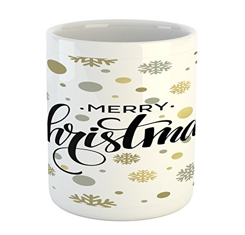Ambesonne Christmas Mug, Merry Christmas Stylized Lettering on Abstract Modern Snowflake Dot Pattern, Printed Ceramic Coffee Mug Water Tea Drinks Cup, Gold Taupe Black