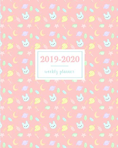 - 2019-2020 Weekly Planner: Kawaii Bunny Leaf Popsicle Candy Moon Pink, Weekly and Monthly Standard Professional Calendar | 1 July 2019 - 31 December 2020