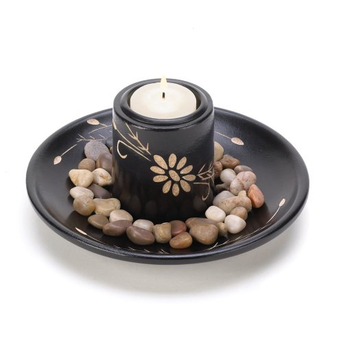 Gifts & Decor Daisy Flower Motif Deluxe Tealight Candle Holder -