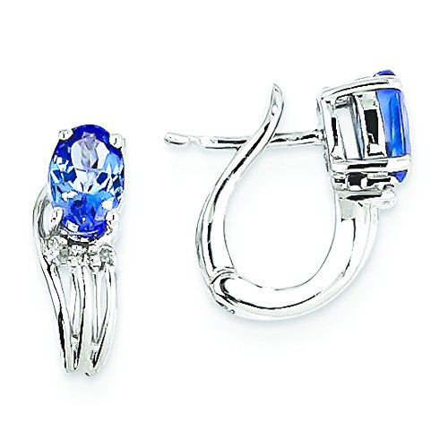 Rhodium Diamond Hinged Earrings (Sterling Silver Rhodium Plated Diamond Tanzanite Hinged Earrings)