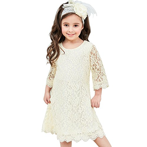 Flower Girl Dress, Lace Dress 3/4 Sleeve Dress (Ivory, -