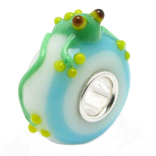 Queenberry Sterling Silver Leaping Frog European Style Glass Bead Charm