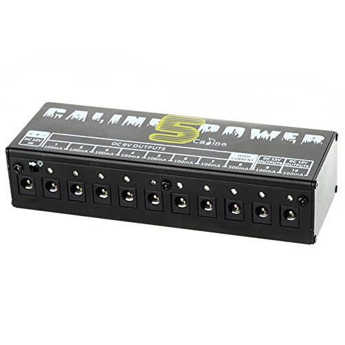 Caline CP-05 Low Noise 10 CH Hustle Drive Multi-Power Supply for 9V, 12V or 18V Guitar effects PEDAL - Black