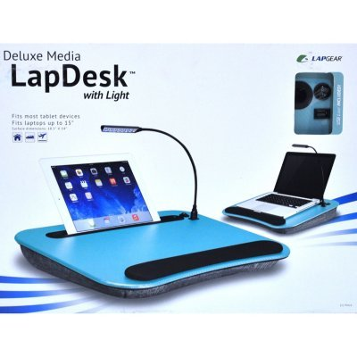 LapGear Deluxe Media LapDesk with Light (Aqua)