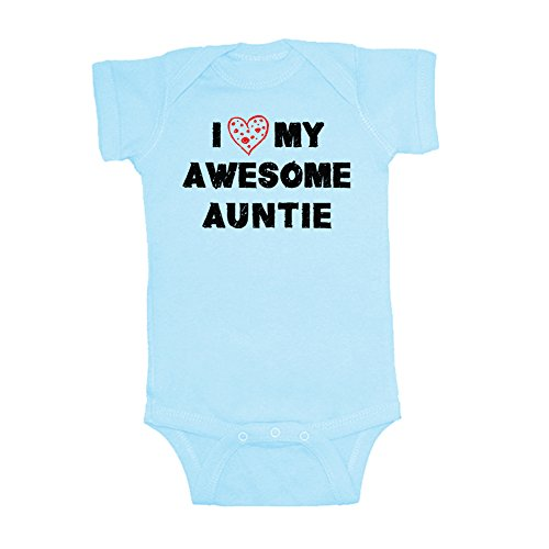 Mashed Clothing Unisex-Baby I Love My Awesome Auntie Bodysuit (Organic Blue, 18 Months)