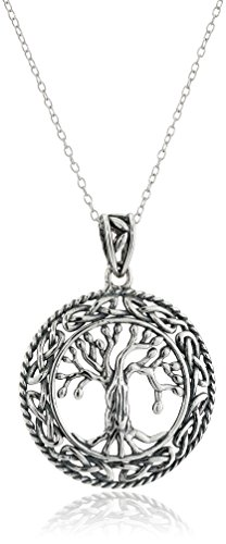 Celtic Circle Life (Sterling Silver Oxidized Celtic Tree of Life Pendant Necklace, 18