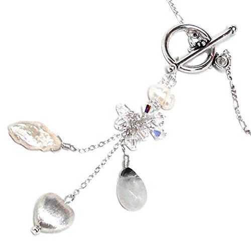 - Rutilated Quartz Cultured Pearl Front-Closure Y-Chain Crystal Cluster Drop Sterling Silver Heart Necklace 17 Inches
