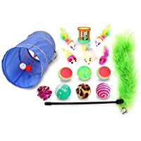 Cat Toys Kitten Toys Assortments, Variety Pack for Cat Tunnel, Bell Crinkle Balls, Feather Wand, Cat Teaser Toy, Cat…