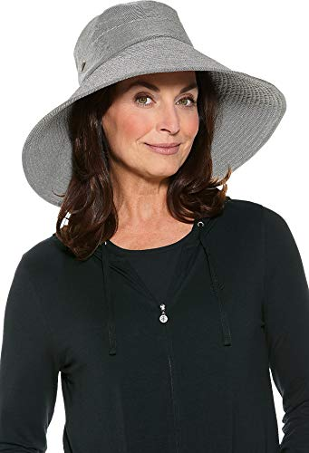 - Coolibar UPF 50+ Women's Beach Hat - Sun Protective (One Size- Black/White Ticking)