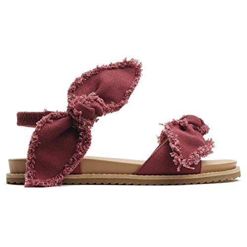Bill Blass Bomull Duck - Frynsete Kanter -double Bow Sandal Bringebær