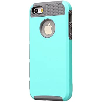 iPhone 5S Case,iPhone 5 Case,Moment Dextrad Non-Slip [Perfect Fit] Hard Plastic + Rubber Silicone [Slim Fit] Dual-Layer Protective Cover Only for Apple iPhone 5/5S (Teal/gray)