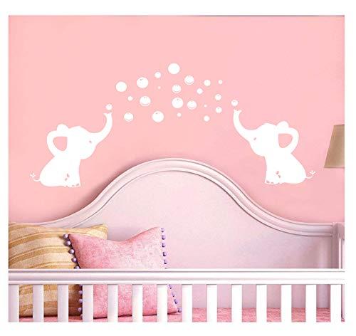 LUCKKYY Elephant Family Wall Decal Removable Vinyl Wall Art Elephant Bubbles Wall Stickers Baby Nursery Wall Decor (White)