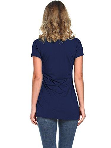 Amoretu Women's Basic Tee Tops Casual Short Sleeve Scoop Neck T-Shirts (Navy Blue, L) by Amoretu (Image #2)