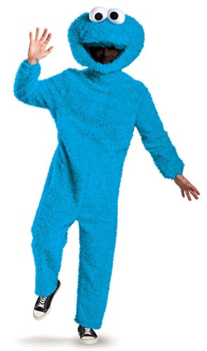 Disguise Men's Full Plush Cookie Monster Prestige Adult Costume, Blue, (Monster Costume Adults)