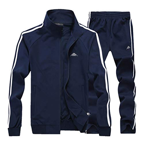 Modern Fantasy Men's Classic Striped Winter Tracksuit Running Joggers Sports Warm Sweatsuit Big (XXX-Large, Darkblue)