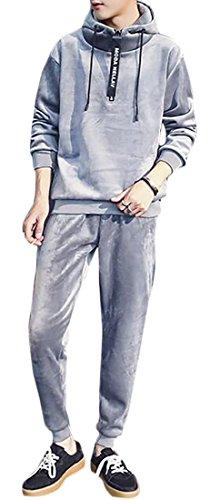 Velvet Set UK Sweatpants 2 Light Winter Mens Piece Sleeve Grey today Cozy Tracksuit Long Hoodies RAIUxqw