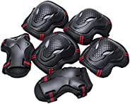 Qianduo 6pcs/Set Teens & Adult Knee Pads Elbow Pads Wrist Guards Protective Gear Set for Roller Skating Sk