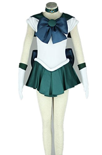 [Love Anime Girl Woman Skirt Dress Uniform Cosplay Costume 7 Pcs Set] (Sailor Saturn Costume)