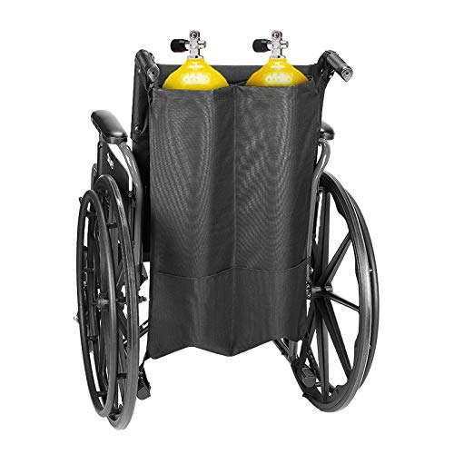 Issyzone Oxygen Cylinder Bag Dual Oxygen Cylinder Holder for Wheelchair Walker Oxygen Tank Holder with Nice Mesh Storage Pocket Fits D and E Oxygen Tanks