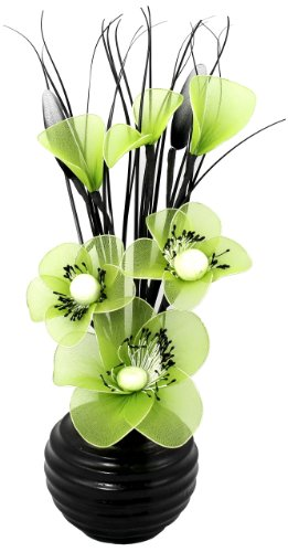 FLOWER DREAMS RED ROSE FIGURINE Flourish 704506 813 Black Vase with Lime Green Nylon Artificial Flowers in Vase, Fake Flowers, Ornaments, Small Gift, Home Accessories, 32cm (Flower Decor Nylon)