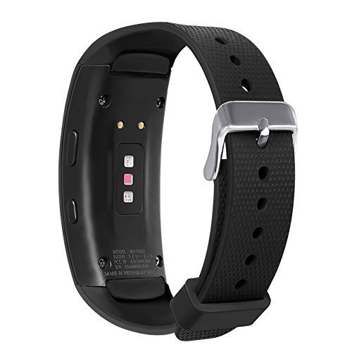 Compatible Samsung Gear Fit 2 Pro/Fit 2 Band, NaHai Silicone Replacement Strap for Samsung Gear Fit2 and Fit2 Pro (New-Black, 5.5''-7.5'') (Gear Fit 2 Pro Vs Gear Fit 2)
