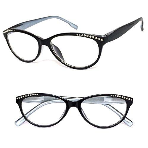 - Black With Silver Inside Reading Glasses Womens Retro Cat Eye Rhinestones Clear Lens Spring Hinges - Choose Power Strength (Black, 1.75)