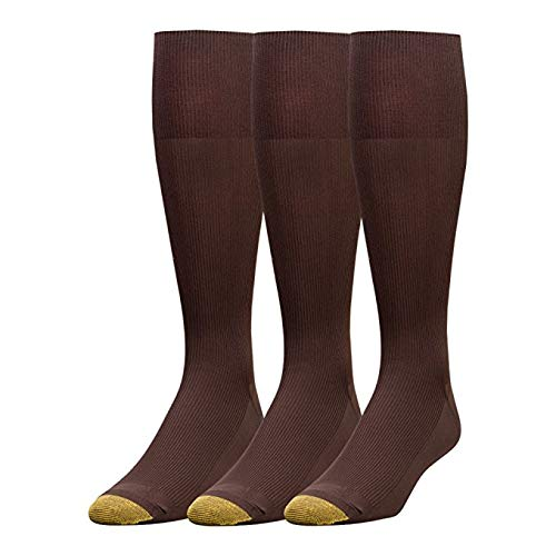 - Gold Toe Men's Metropolitan Over the Calf Dress Socks (2 PK, Brown), 10-13 / Shoe- 6-12.5