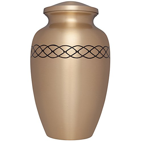 Gold Funeral Urn by Liliane Memorials - Cremation Urn for Human Ashes - Hand Made in Brass - Suitable for Cemetery Burial or Niche - Large Size fits Remains of Adults up to 200 lbs- Links Gold Model