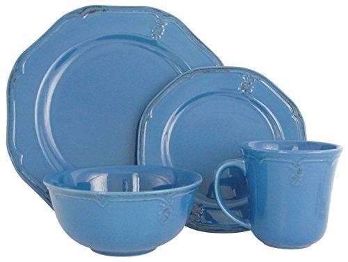 Melange Stoneware 16-Piece Dinnerware Set (Antique Blue) | Service for 4| Microwave, Dishwasher & Oven Safe | Dinner Plate, Salad Plate, Soup Bowl & Mug (4 Each) by Melange