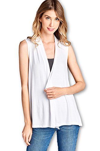 ReneeC. Women's Extra Soft Natural Bamboo Sleeveless Cardigan - Made in USA (Medium, White)