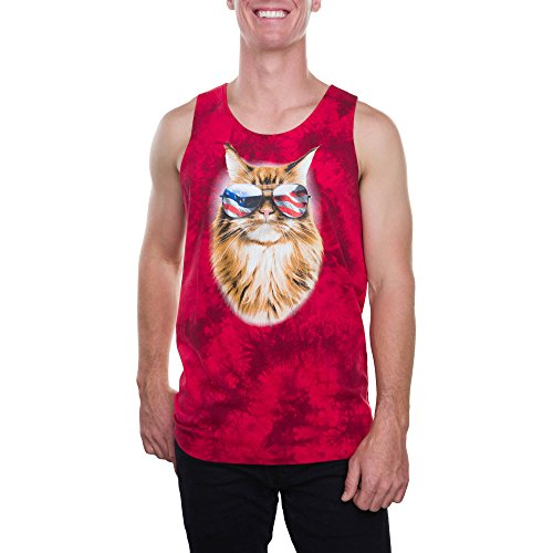 Hybrid Feline Freedom Kitty Cat in Sunglasses Mens Graphic Tank Top (Extra Large - Kitty Cat Sunglasses