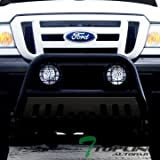 Topline Autopart Matte Black HD Bull Bar Bumper Grill Guard W/Chrome Skid Plate 98-11 Ford Ranger