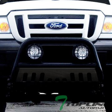 Topline Autopart Matte Black Bull Bar Brush Push Front Bumper Grill Grille Guard With Brush Aluminum Skid Plate For 98-11 Ford Ranger