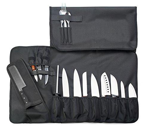 EVERPRIDE Knife Roll Bag For Chefs (16 Slots) Holds 12 Knives, 1 Meat Cleaver, And 3 Utensil Pockets. Top Quality Portable Chef Knife Case - Includes Handle, Shoulder Strap & Business Card Holder