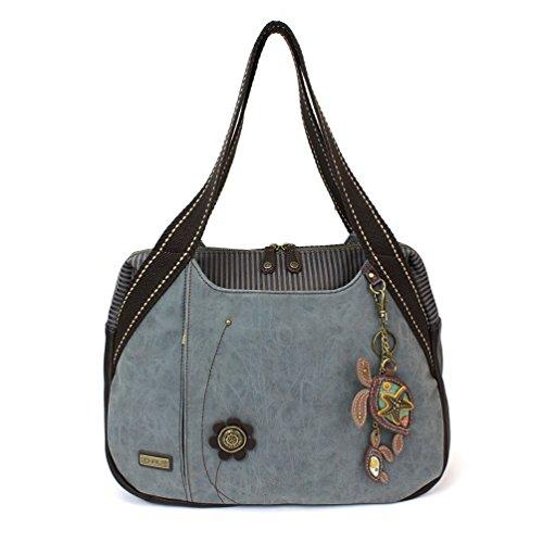 Chala Large Bowling Tote Bag with coin purse Indigo (Two Turtles - Indigo) ()