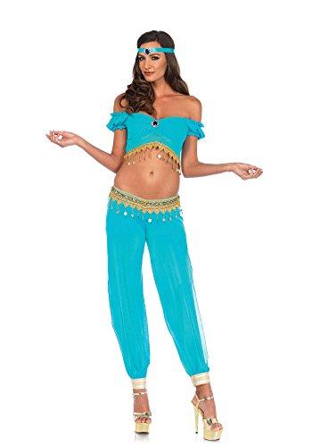 Leg Avenue Women's Arabian Desert Beauty Princess Halloween Costume, Turquoise, Medium -