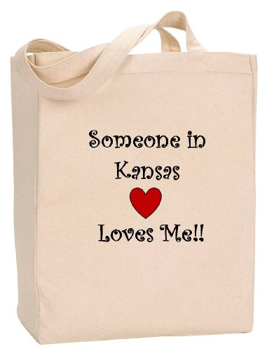 SOMEONE IN KANSAS LOVES ME - State Series - Natural Canvas Tote Bag with - Kansas In Wichita Shopping